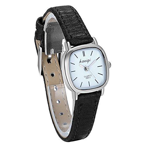 JewelryWe Relojes para mujer Reloj delgado con banda de cuero Vestido para mujer Moda Impermeable Clásico Atemporal Diseño simple Reloj de pulsera de cuarzo analógico con esfera cuadrada, 3 modelos
