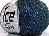 Rock Star, Blue, Black, Metallic Shine, Soft Nylon Merino Wool Acrylic Blend Yarn, 50 Gram