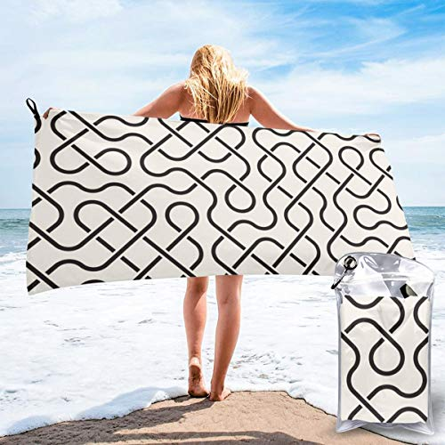N/F Line Mesh Geometric Patterns Bath Towels Large Bath Towel Set Super Absorbent And Fast Drying For Bathroom And Beach 2 Sizes Personalized
