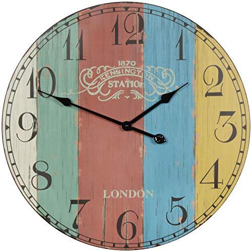WOHNLING decoratieve vintage wandklok XXL Ø 60 cm Londen strepen hout kleurrijk | Grote klok rustiek decoratieklok rond | Design: etro keukenklok voor keuken en woonkamer