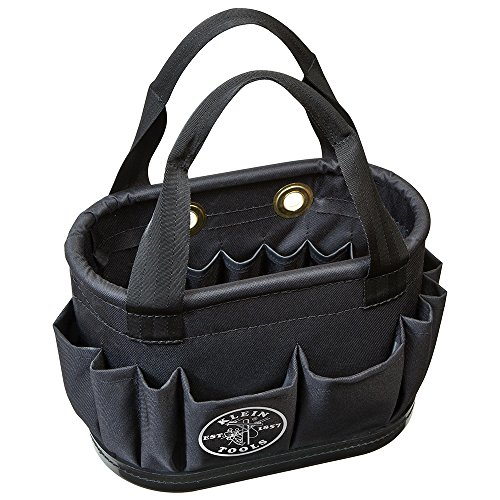 Klein Tools 5144BHB14OS Tool Bucket, Oval Lineman Bucket with Hard-Body Construction, 29 Pockets, and Drain Holes, Equipped for Aerial Use, Black