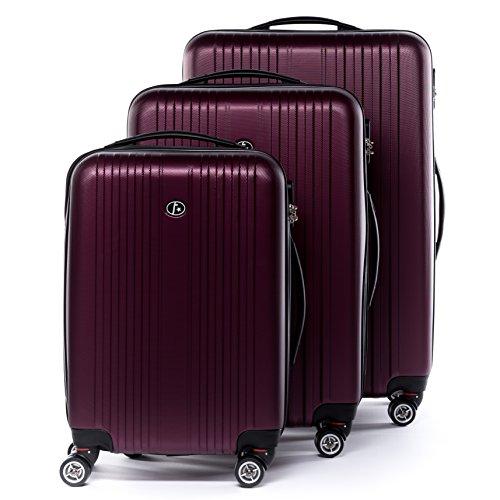 FERGÉ Kofferset Hartschale 3-teilig Toulouse Trolley-Set - Handgepäck 55 cm L XL - 3er Hartschalenkoffer Roll-Koffer 4 Rollen 100% ABS rot