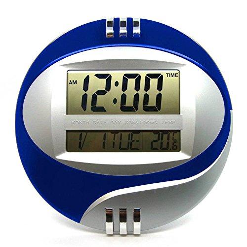 Starlet24 digitale wandklok #DS-3885N digitale LCD wandklok multifunctioneel met timer wekker sluimerkalender blauw