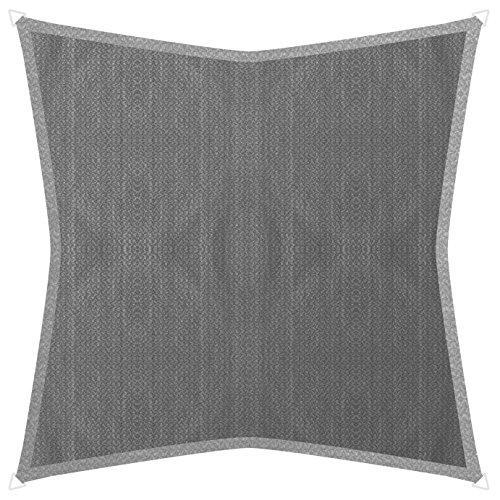 Windhager Voile d'ombrage SunSail Adria, carré 5 x 5 m (isocèle), Solaire, Protection UV, résistant aux intempéries et Respirant, Granit, 10970, 5 m