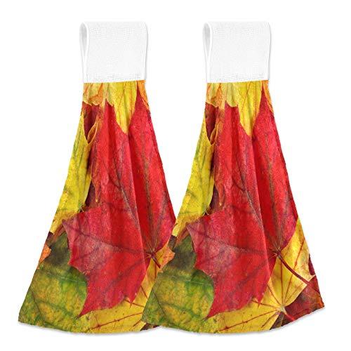 Oarencol Toallas de mano de cocina coloridas hojas de arce otoño/otoño, absorbentes para colgar con lazo para baño, 2 unidades