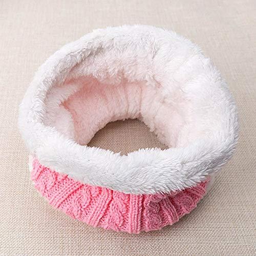 Nuevo Sombrero de bebé Traje de Bufanda Otoño Invierno Tejido para niños Conjunto de Bufanda de algodón para niñas y niños Sombreros Cuello Bufanda para niños-Light Pink 3