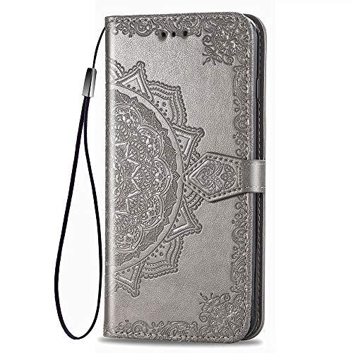 LAGUI Compatible für Motorola One Action Hülle, Schönes Muster Brieftasche Lederhülle (Silikonhülle, 3 Kartenfach, Ständerfunktion, magnetische Verschluss), grau