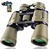 20x50 Hunting Binoculars for Adults with Smartphone Adapter 28mm Eyepiece High Power Professional Binoculars for Bird Watching Hiking Sightseeing Travel Sports Concert with BAK4 Prism FMC Lens, Mud