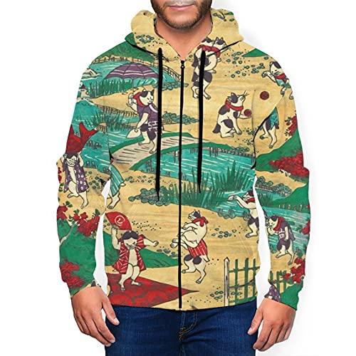 Sudadera con capucha para hombre con cremallera completa con capucha y diseño clásico con capucha, Lucky Cat Life Culture Ukiyoe Black, M