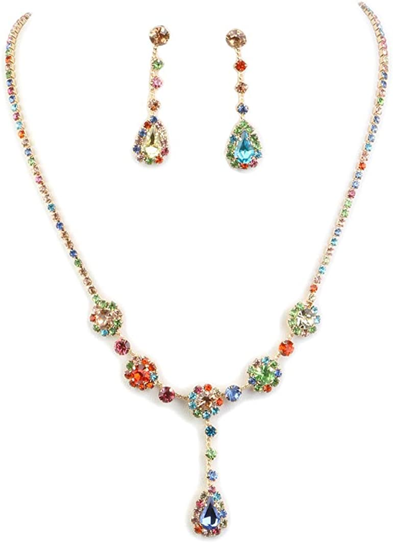 Fashion Jewelry ~ Multi Color Crystal Teardrop Rhinestone Bridal Wedding Necklace and Earrings Set Goldtone for Women Teens Girlfriends Birthday Gifts