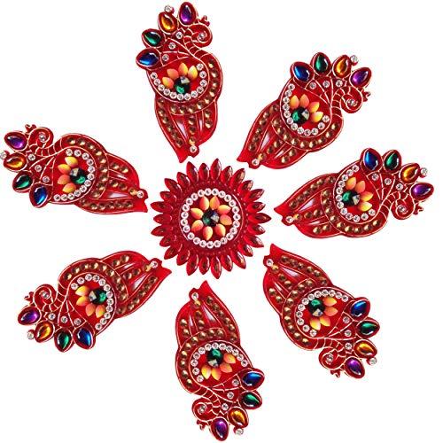Diwali Acrylic Rangoli Floor Decorations Acrylic Rangoli with Studded Stones and Sequins, Traditional Festive Home Décor (Design7)