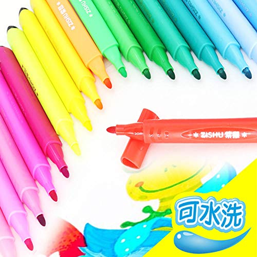 SHUOSHUO Triangle Watercolor Pen Set Creative Elementary School Students Washable Color Pen Boxed Painting Material Color Pen Set Wholesale-Red and Blue Mixed Hair_24 colors/310