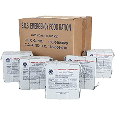 """SOS Food Labs, Inc. 185000825 S.O.S. Rations Emergency 3600 Calorie Food bar - 3 Day/ 72 Hour Package with 5 Year Shelf Life, 5"""" Height, 2"""" Wide, 4.5"""" Length from SOS Food Labs, Inc."""