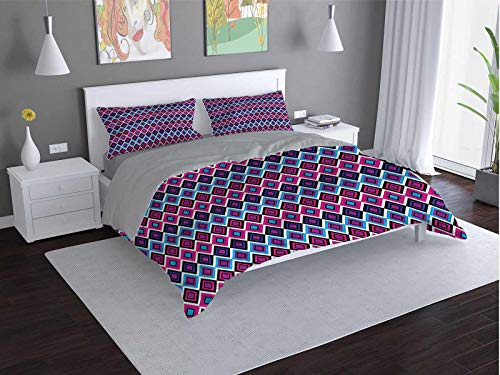 Toopeek Geometric Quilt cover 3-piece set Abstract-Square-Shape Super soft and easy to maintain (Queen)