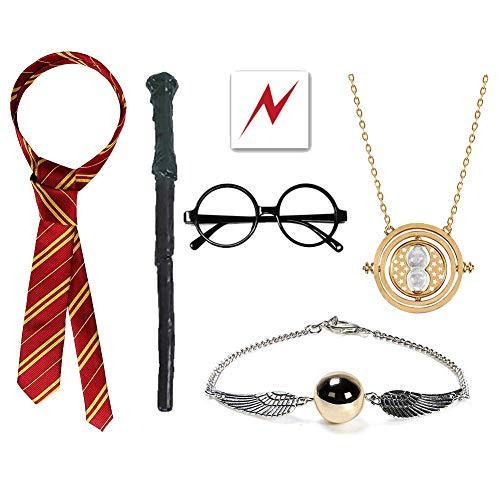 EUYUAN - 10 Disfraces de Harry Potter, con Varita de Mago, Tatuaje de Cicatriz de Perno, Corbata de Gryffindor, Gafas, Collar y Pulsera para Fiesta de Cosplay, Halloween, Carnaval
