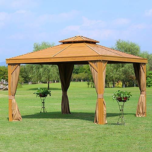 WSN Gazebo al Aire Libre de 3.65x 3.65m, Carpa de pabellón a Prueba de Agua con Techo de 2 Niveles, Gran marquesina para Patio, Patio Trasero, jardín