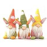 Maluokasa Muñeca de conejo de Pascua, gnomo de peluche, juego de muñecas de elfos o enanos, para decoración de Navidad, juego de 3 unidades