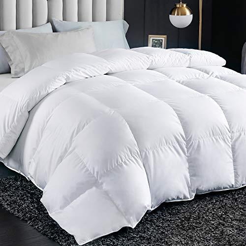 FAVRIQ Luxurious All Season Queen Size Down Comforter Duvet Insert, Ultra-Soft Egyptian Cotton, 1000g High Fill Power Fluffy Medium Warmth(White, Queen)