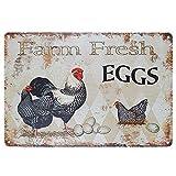Farm Tin Sign Retro Farm Fresh Eggs Farm Supermarket Outdoor Supermarket Cottage Wall Decoration 12x8 Inches