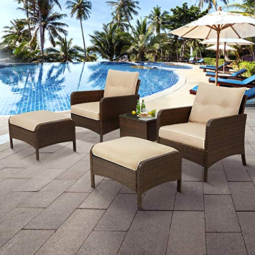 U-MAX 5 Pieces Patio Furniture Set Outdoor Chair and Ottoman Set with Cushions & Side Table, Brown PE Wicker Rattan Lawn Pool Balcony Backyard Conversation Lounge Set, White & Tan Cushion