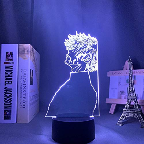 Lámpara de noche 3D LED de anime, lámpara 3D Ken Kaneki Light Tokyo Ghoul para niños, decoración de dormitorio, manga, regalo de cumpleaños, Tokyo Ghoul, lámpara de mesa LED, 7 colores táctiles LUOXIA