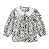 Curipeer Little Girls Long Sleeve Blouse Cotton Floral Toddler Tops Shirt 5-6Y