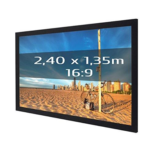 KIMEX 044-3014 Pantalla de proyección Fija con Marco 240x135 cm (16/9)- Tela Frontal Blanco Mate