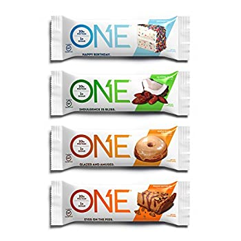ONE Protein Bars Best Sellers Variety Pack Gluten Free 20g Protein and Only 1g Sugar Birthday Cake Almond Bliss Maple Glazed Doughnut & Peanut Butter Pie 2.12 oz  12 Pack