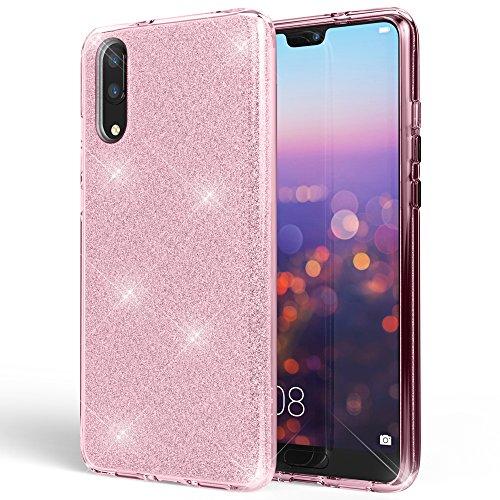 NALIA Coque Silicone Compatible avec Huawei P20, Ultra-Fine Glitter Housse Protection Slim Case Paillettes Cover Souple Résistant, Incassable Bling Etui Rigide Strass Bumper Mince, Couleur:Pink Rose