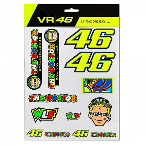 Valentino Rossi valentín Rojos Patches Kit The Doctor Juventud, Talla única, Adultos Unisex, Multicolor