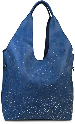 styleBREAKER Beutel Handtaschen Set mit Strassapplikation im Sternenhimmel Design, 2 Taschen, Shopper, Damen 02012031, Farbe:Dunkelblau
