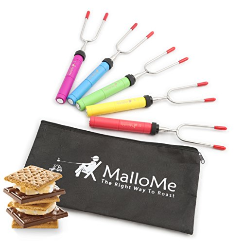 Discover Bargain MalloMe Premium Marshmallow Roasting Sticks Set of 5 Smores Skewers & Hot Dog Fork ...