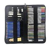 Morran Profesional Lápices De Colores Conjunto De Dibujo Artístico,lapiz Dibujo Y Bosquejo Material Set,51 Juegos De Plomo De Color Soluble En Agua, Plomo De Color Metálico, Etc. (Negro)