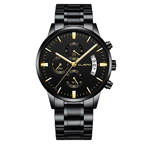 Relógio masculino à prova d 'água, moderno, clássico, cronômetro, relógios de pulso masculinos, negócios, quartzo, cronógrafo, data automática, relógio esportivo com pulseira de aço inoxidável, Black Black-Gold