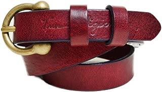 Women's Thin Basic Leather Belt in Burgundy