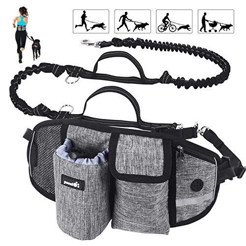 Pecute Correa Running Perro Correa Manos Libres para Perros Grande Proteger la Cintura con Costuras Reflectantes, Cinturones de Cintura Ajustables, Endure 110kg (Gris 2)