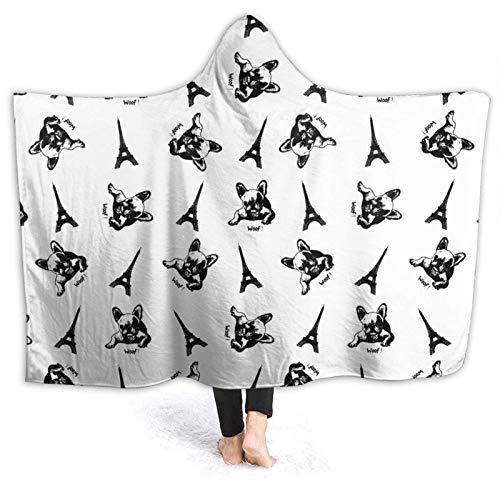 AEMAPE Manta con Capucha con diseño de Bulldog francés París, Mantas Personalizadas, Manta de Lana para niños, Adultos, 50x40in-M1