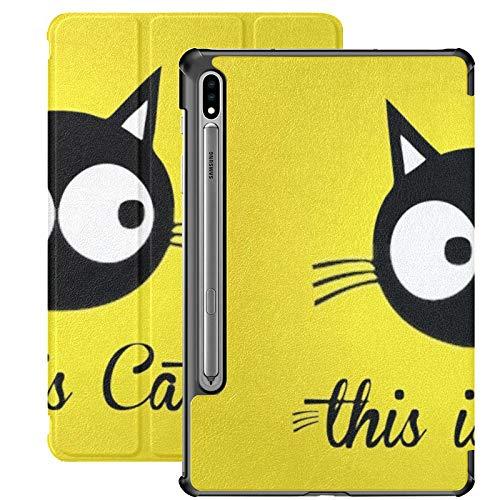 Funda Galaxy Tablet S7 Plus de 12,4 Pulgadas 2020 con Soporte para lápiz S, Esta Funda Protectora Tipo Folio con Soporte Delgado y Colorido de Cat Vector para Samsung