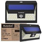 Lucas 46 LED Runesol con sensor (Paquete De 2) | Lámpara Solar Con 46 Luces LED | Luz LED con Focos Para Iluminar Exteriores, Patios, Cercas, Jardines, Entradas | Panel De Seguridad LED | Luz Solar