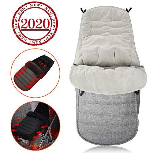 Chanceliere universelle pour poussette, Sac de couchage bébé, universel 3 en 1 Coupe-vent Garder au Chaud Couverture de piedy, Couverture Anti-vent Etanche Confortable (Gris)
