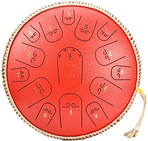 Tambor Handpan, Tambor de la lengua de acero, 14 pulgadas 15 notas Tambor de bandeja de mano con bolsa de carrer para adultos Instrumento de percusión para niños para niños para curación de sonido, me