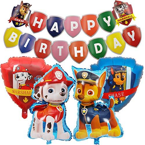 ZSWQ Paw Patrol Geburtstag Dekoration Set Kompakt Happy Birthday Deko Paw Patrol Ballon XXL Folienballon Luftballon Hund Geburtstag Deko für Kinder Paw Hund Patrol Party