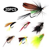 LotFancy 20 Pcs Fly Fishing Flies, Dry/Wet Flies, Nymph Flies, Wooly Bugger Flies, Streamers, Emergers, Caddis Fly Assortment for Trout Bass Salmon