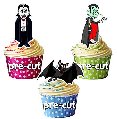 vorgeschnittenen Halloween Vampire Party Mix essbare Cupcake Topper/Kuchen Dekorationen (36Stück)