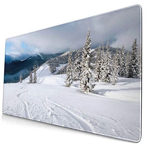 Custom Office Mauspad,Frisches Pulver Snowboard Tracks,Anti-Rutsch-Gummiunterseite Gaming-Mauspad-Matte Schreibtisch-Dekor 15,8