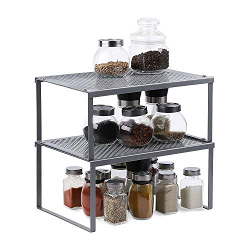 Shelf Insert in Kitchen Cupboard Expandable Stackable Organizer in Cabinet...