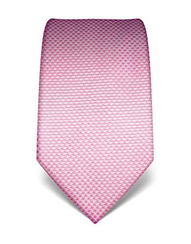 Vincenzo Boretti Herren Krawatte reine Seide Hahnentritt Muster edel Männer-Design zum Hemd mit Anzug für Business Hochzeit 8 cm schmal/breit rosa