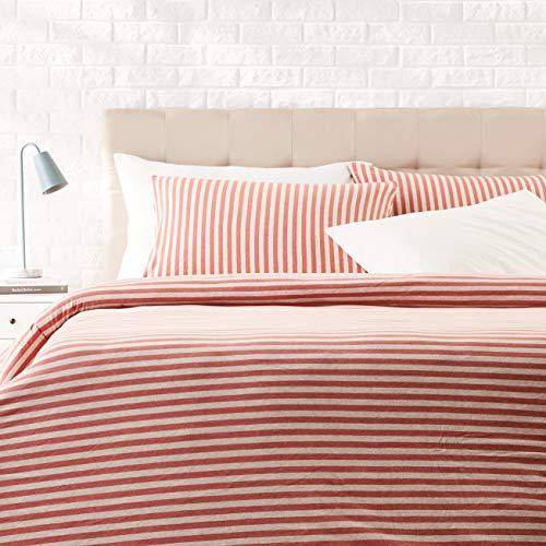 AmazonBasics - Juego de funda nórdica para edredón, diseño de rayas, 220 x 250 cm / 50 x 80 cm, Rojo Claro