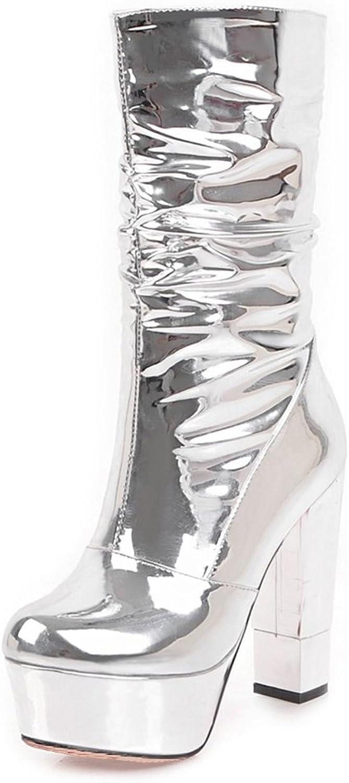 A-BUYBEA Women's Platform Chunky High Heel Vegan Leather Glazed Slouch Boot