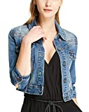 SUSIELADY Women Casual Denim Jacket Jeans Tops Half Sleeve Trucker Coat Outerwear Girls Fashion Slim Outercoat Windbreaker